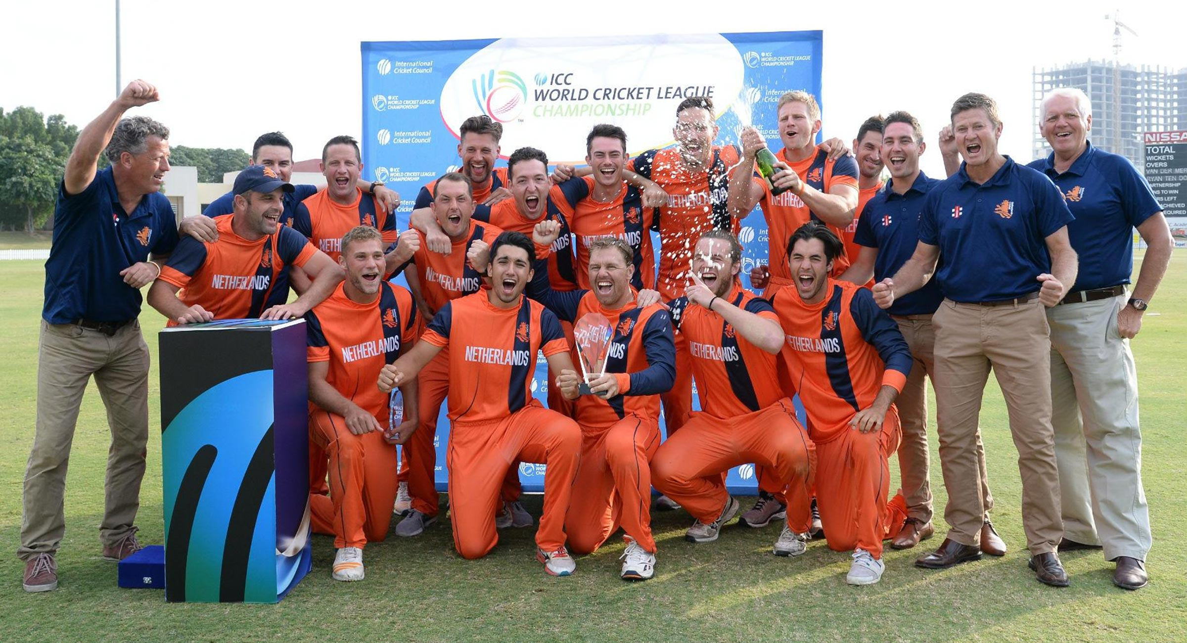 The Netherlands celebrate their World Cricket League title // ICC