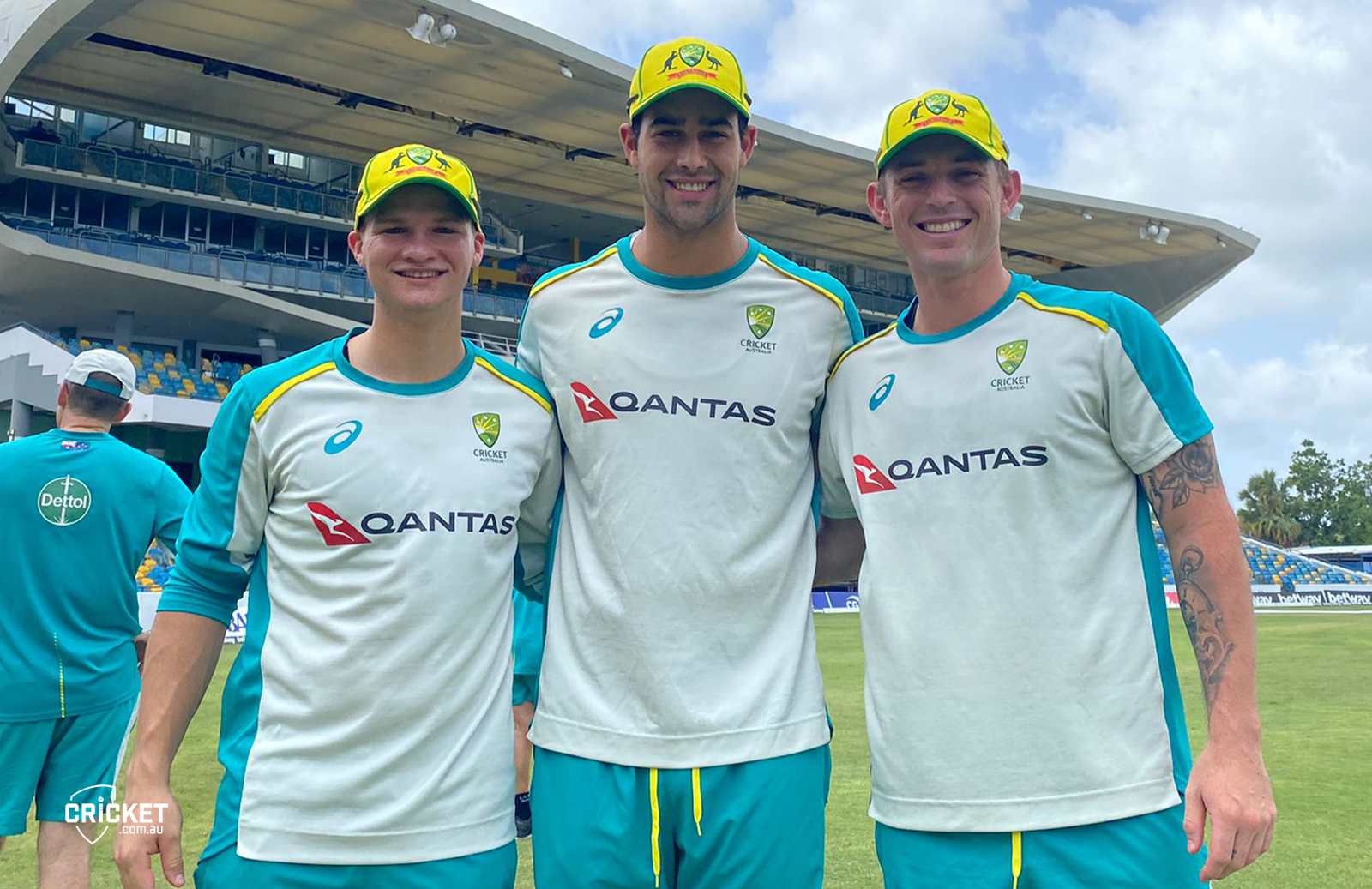 Wes flanked by fellow debutants Josh Philippe (l) and Ben McDermott // cricket.com.au