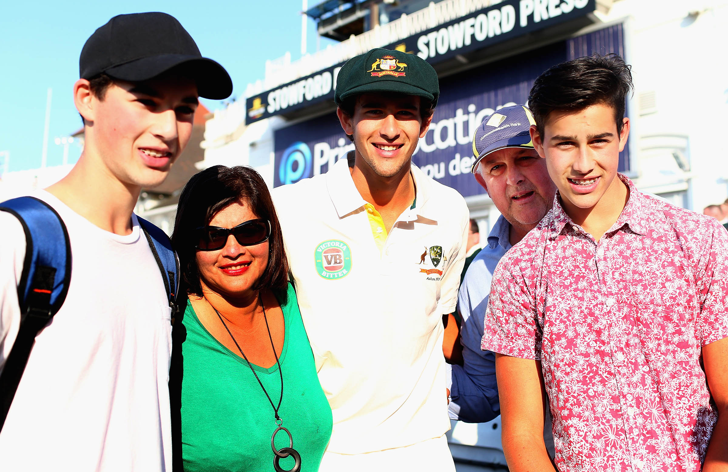 Wes, right, stands out in paisley during Ash's famous 2013 Test debut // Getty