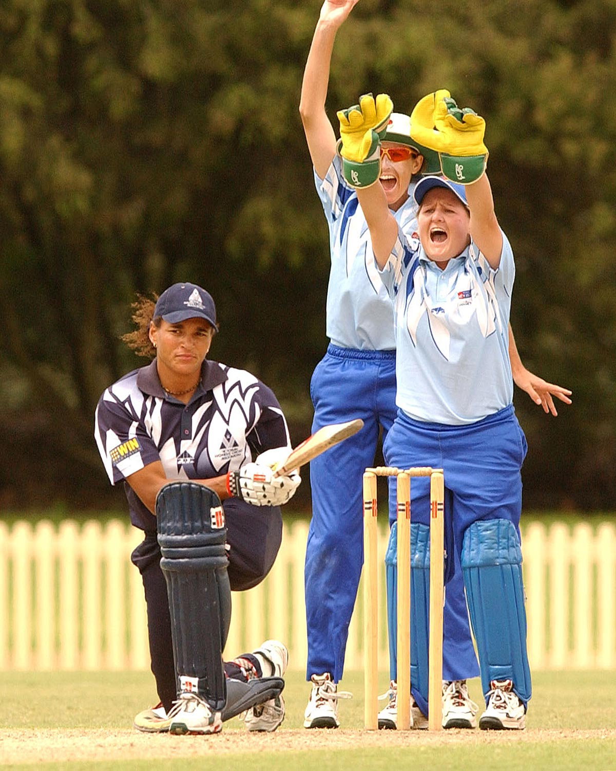 NSW players appeal for the wicket of Victoria's Mel Jones // Getty