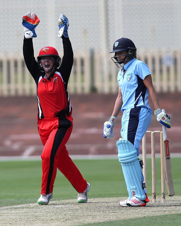 SA's Tegan McPharlin celebrates a wicket against NSW // Getty