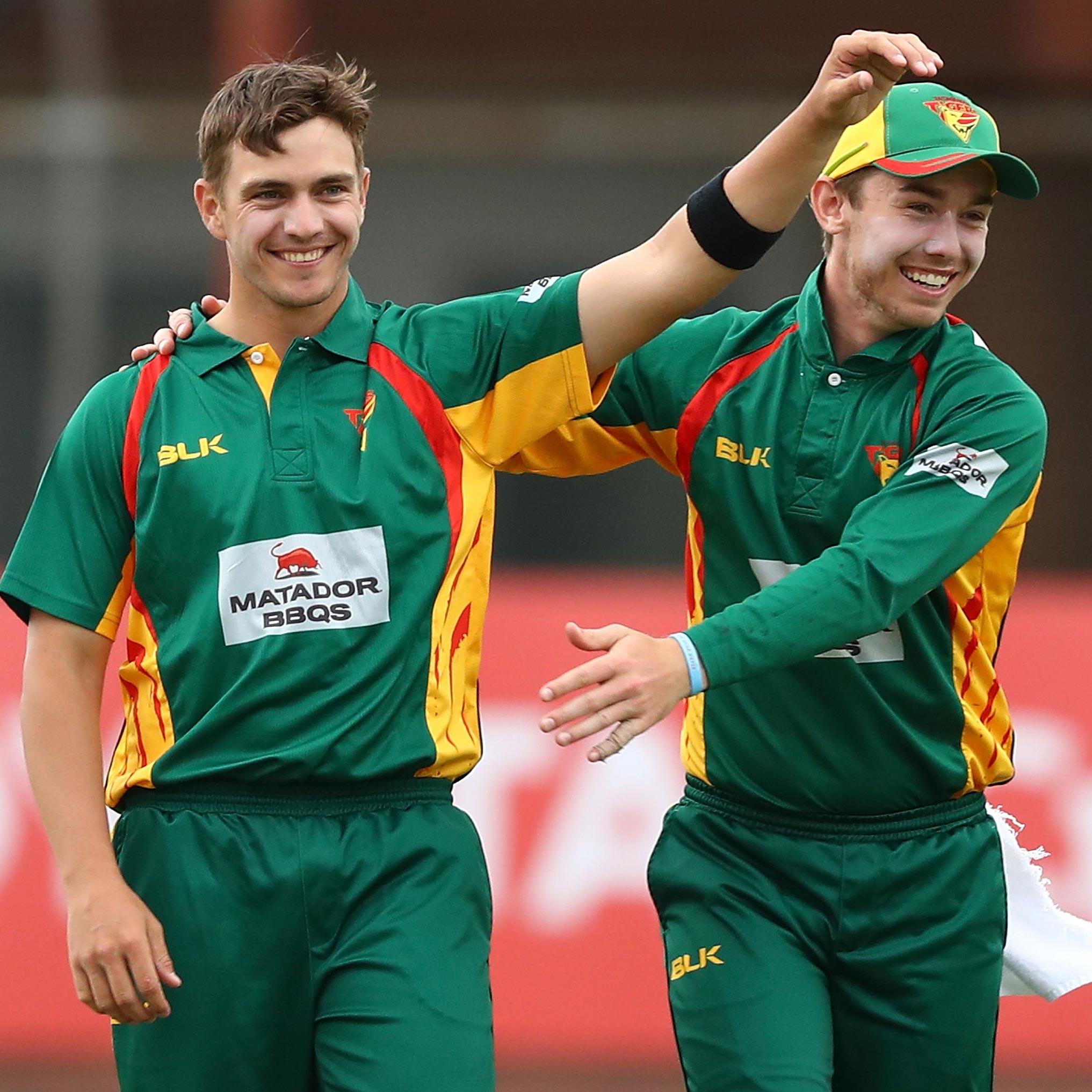 Tasmania's Cameron Boyce celebrates a wicket // Getty
