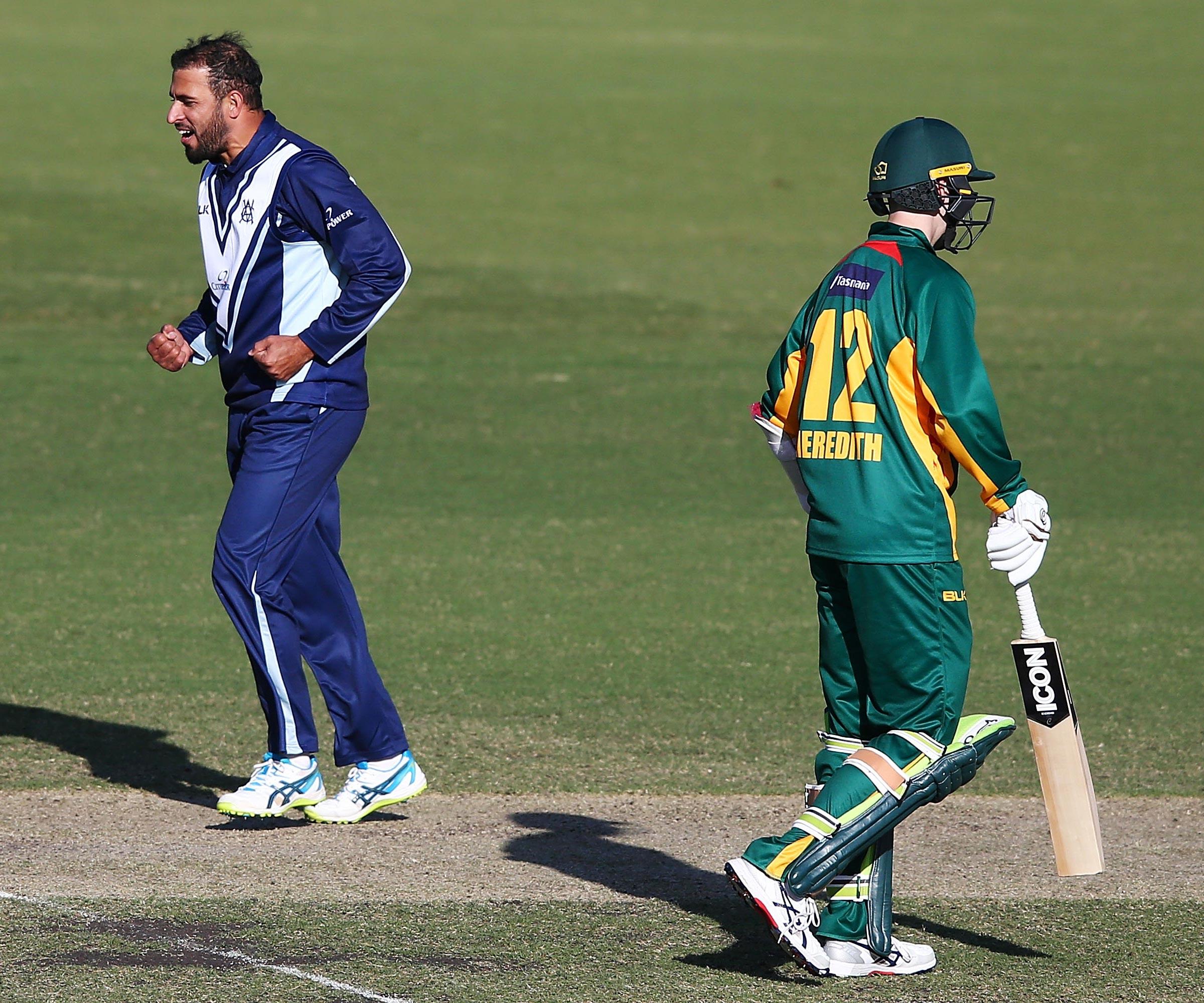 Victoria's Fawad Ahmed celebrates a wicket against Tasmania // Getty