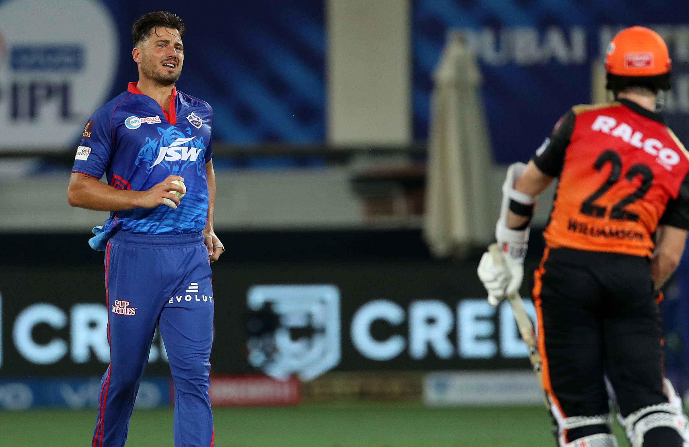 Stoinis pulled up sore during his second over // BCCI/IPL