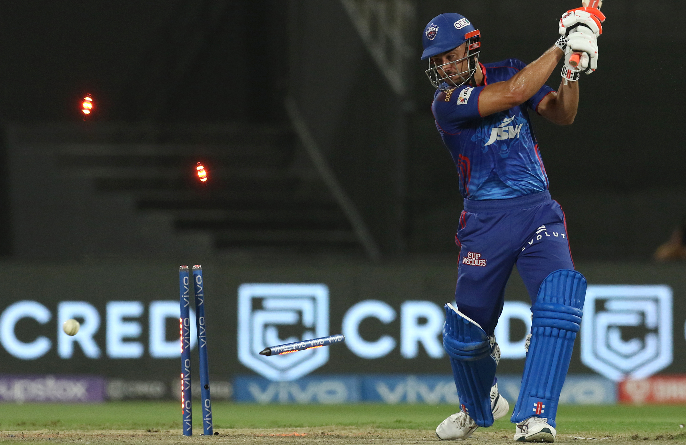 Stoinis was bowled for 18 in Delhi's defeat // BCCI/IPL
